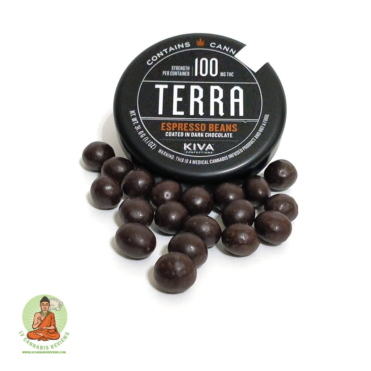 KIVA Confections Terra Bites chocolate coated espresso beans Review November 2019 Nature's Care Dispensary